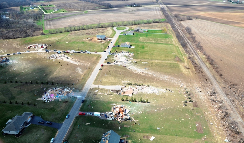 Damage to a neighborhood northwest of Rochelle showing high-end EF-4 impacts to homes.