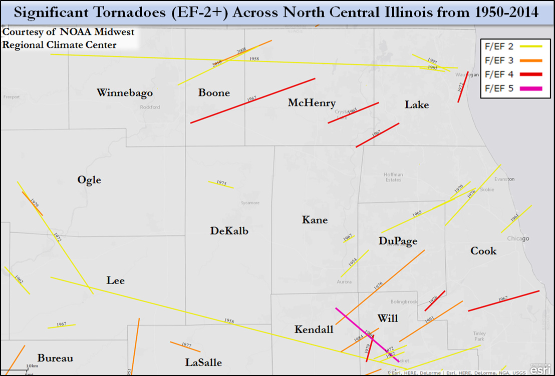 North Central Illinois Significant Tornadoes