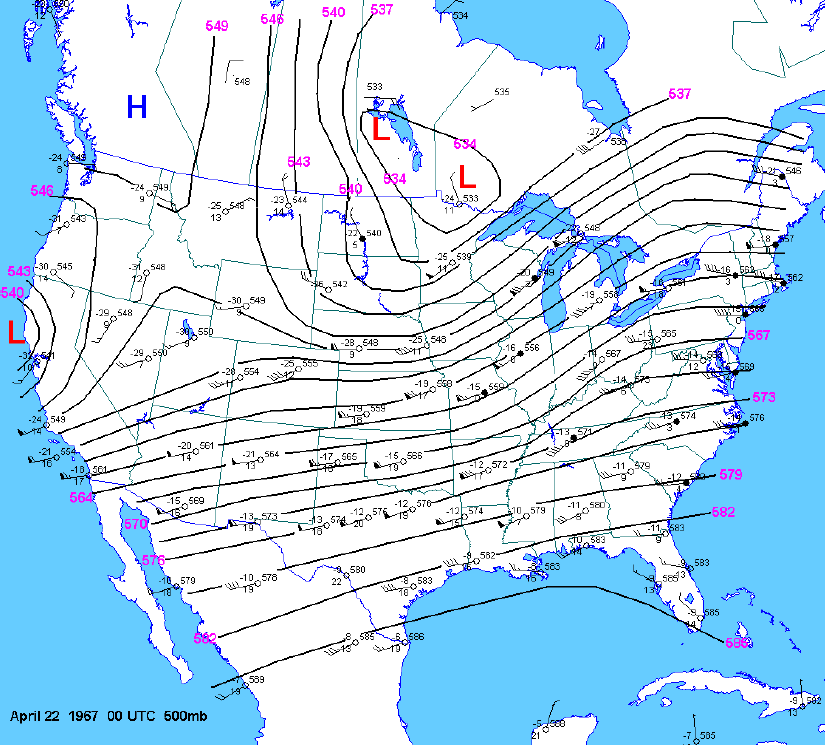 500 mb map at 00z
