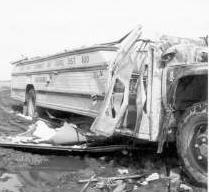 Photo of bus destroyed by tornado