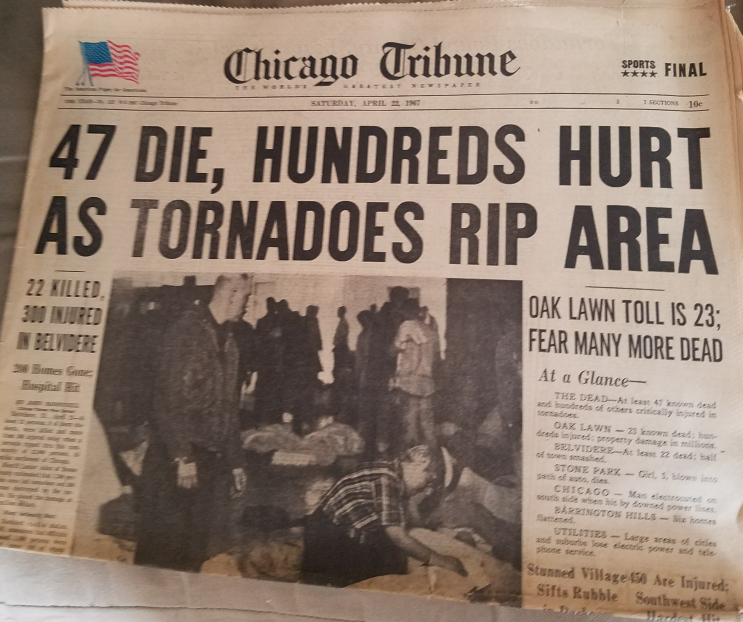 Chicago Tribune newspaper with tornado story