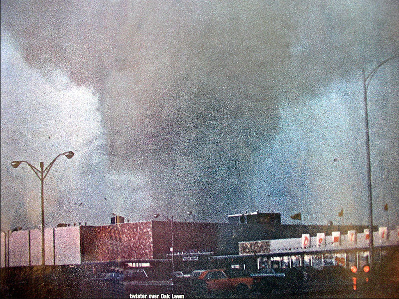 Only known photo of the Oak Lawn tornado.  Photo taken by Elmer Johnson.  Courtesy of Oak Lawn Library