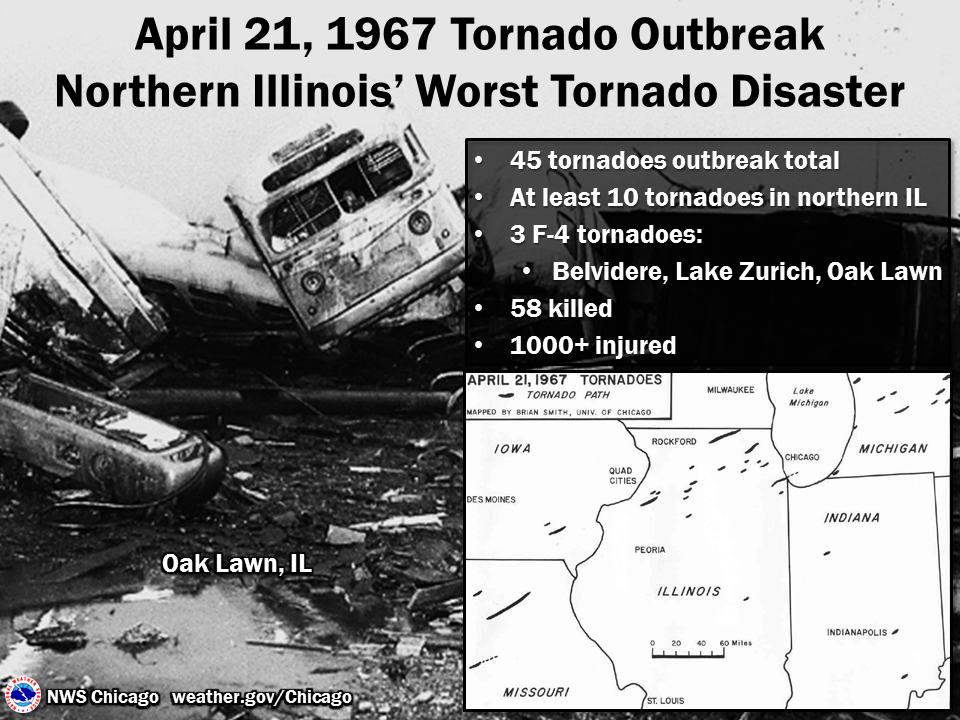 Path of 1967 tornadoes