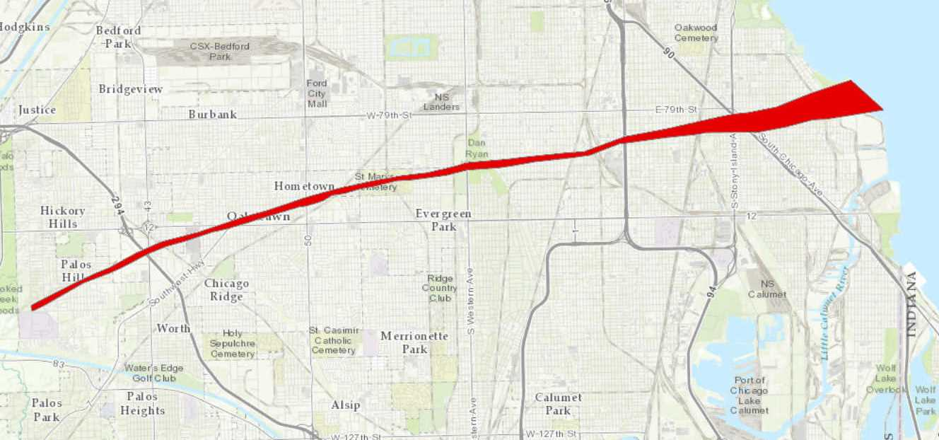 Track Map of Oak Lawn tornado