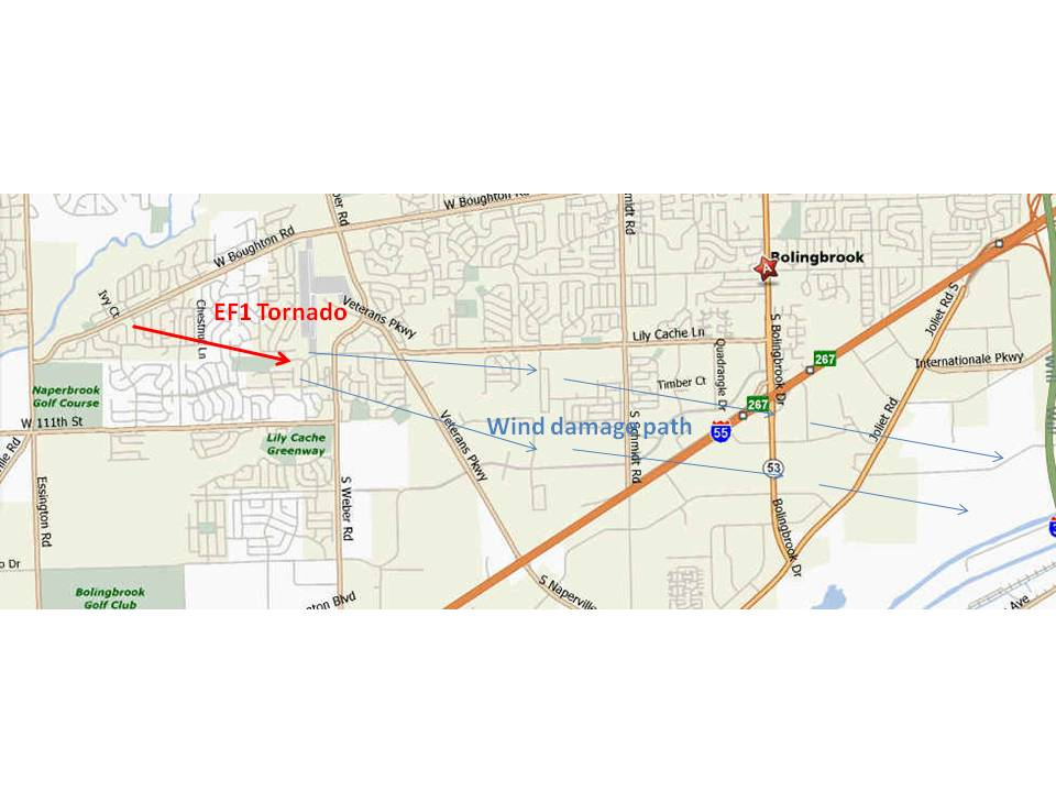 Tornado Map of Bolingbrook, IL.
