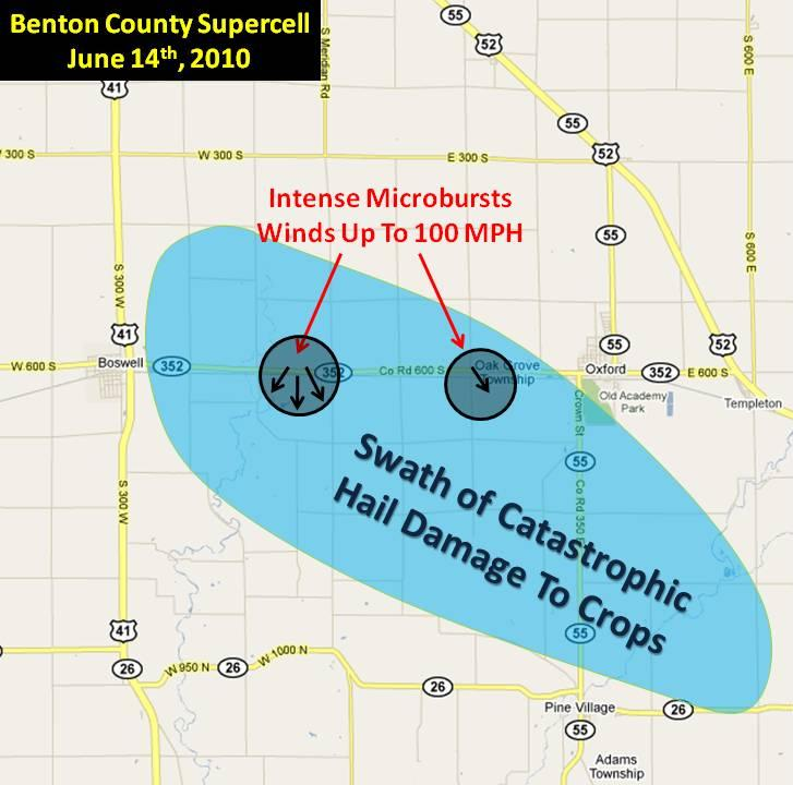 Damage map for southern Benton County