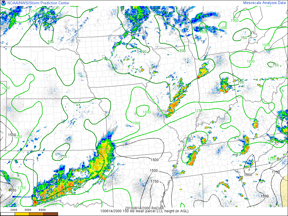 SPC Mesoanalysis of LCL height at 20z