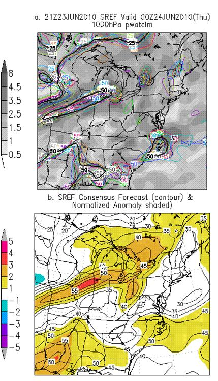 21z June 23 2010 - SREF PWAT Anoms
