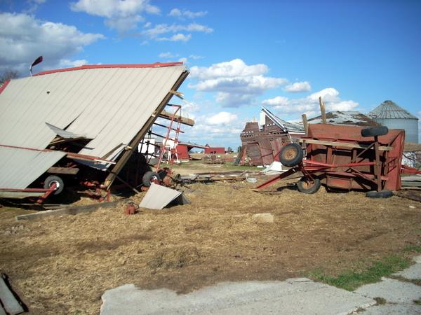 EF-1 tornado damage southeast of Ashton, IL