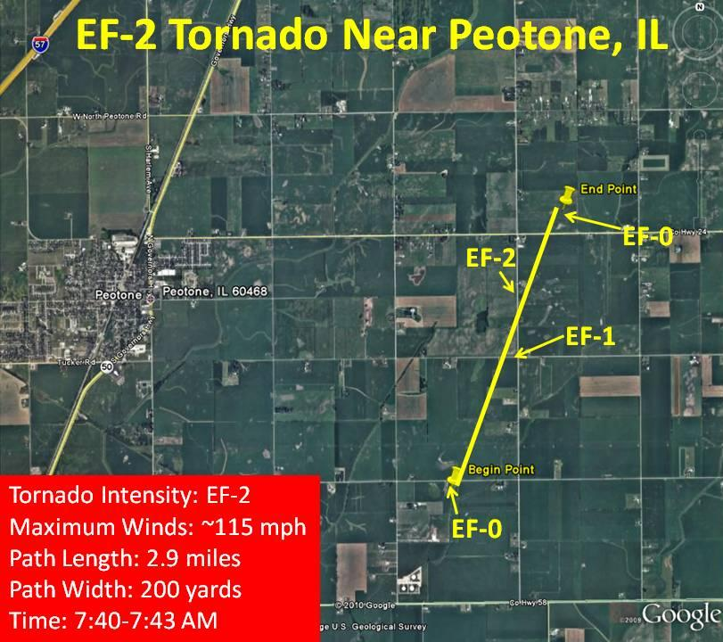 Damage path of EF2 tornado east of Peotone, IL