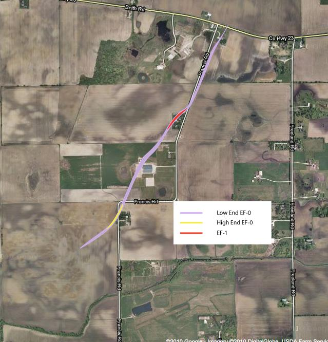 Map of tornado path near Elburn