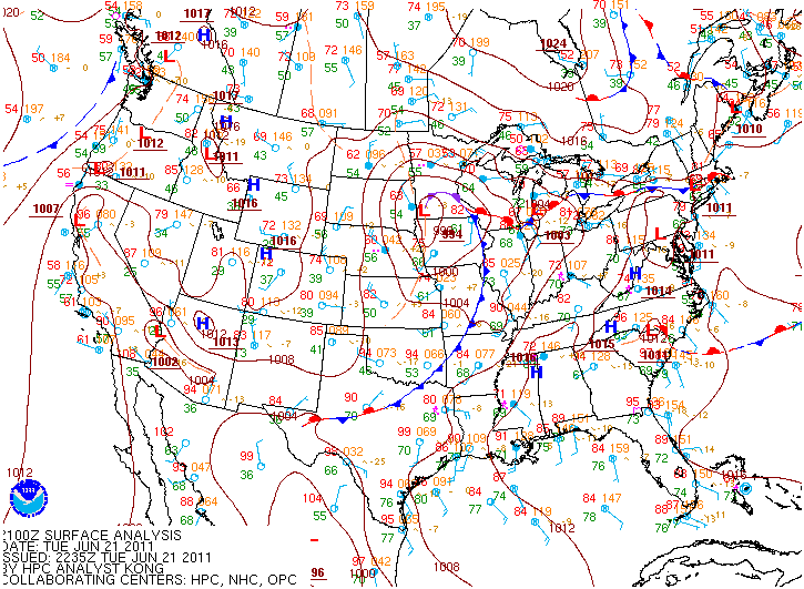 Surface map for June 21, 2011