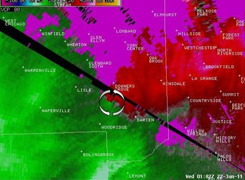 Circulation associated with Downers Grove tornado