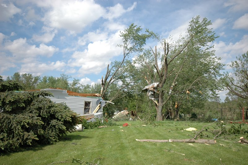Damage to trees and a manufactured home in Adeline, IL.