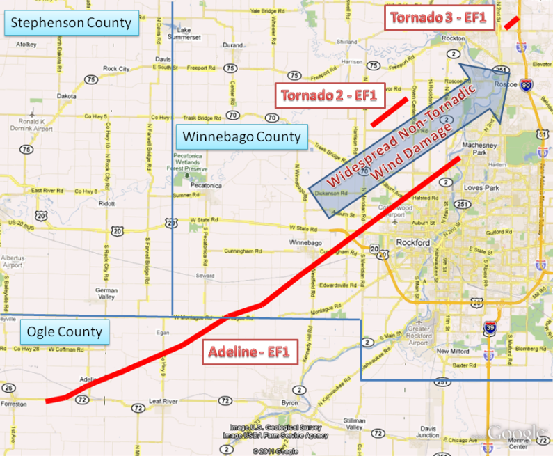 Track of Adeline, Latham Park, and Rockton Tornadoes