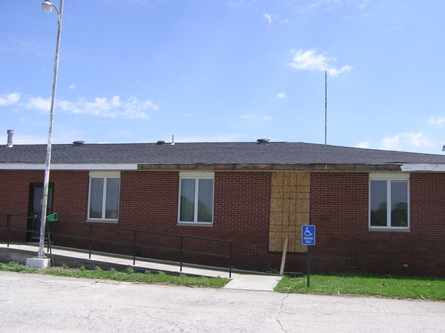 Damage to the west side of the Purdue Agricultural Extension Office.