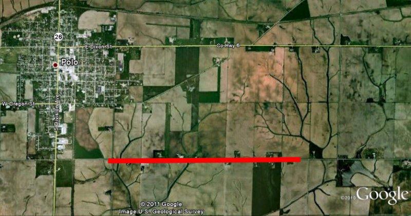 Track of tornado southeast of Polo, IL