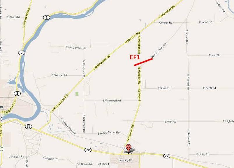 Path of Stillman Valley tornado