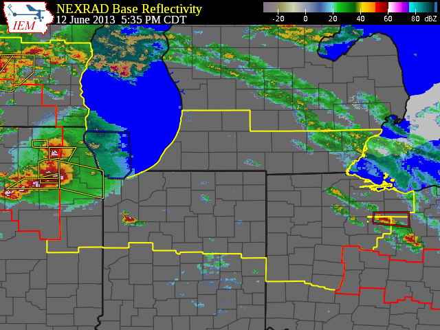 Radar reflectivity at 535 pm CDT