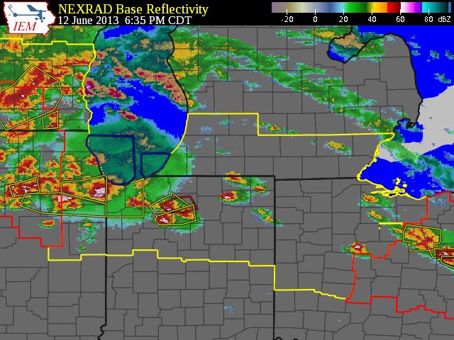 radar reflectivity at 635 pm CDT