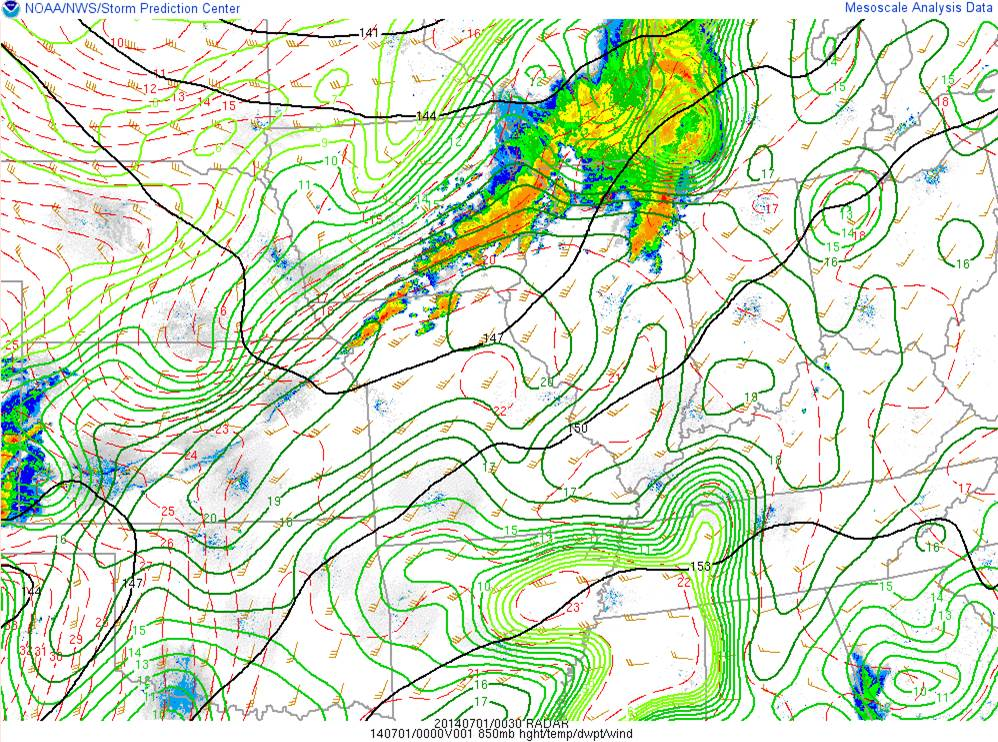 850mb Winds and Moisture