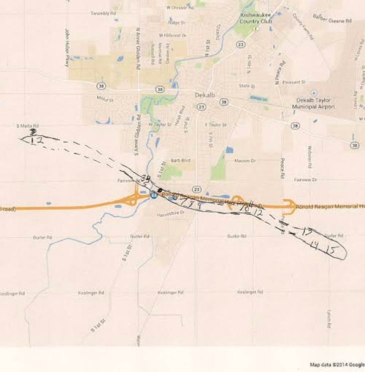 DeKalb Tornado Map