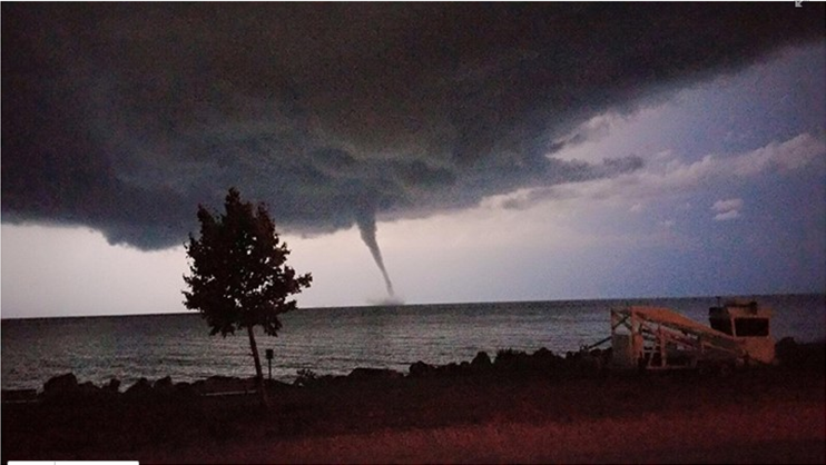 Waterspout Northeast of North Chicago over Lake Michigan August 2nd 2015