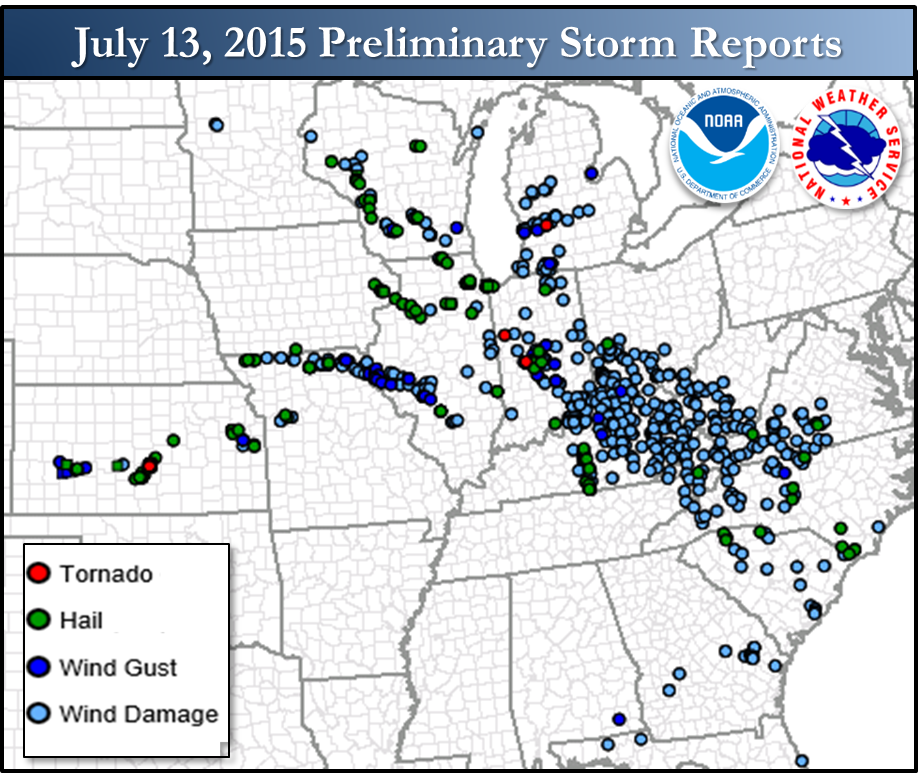 Preliminary Storm Reports 13July2015