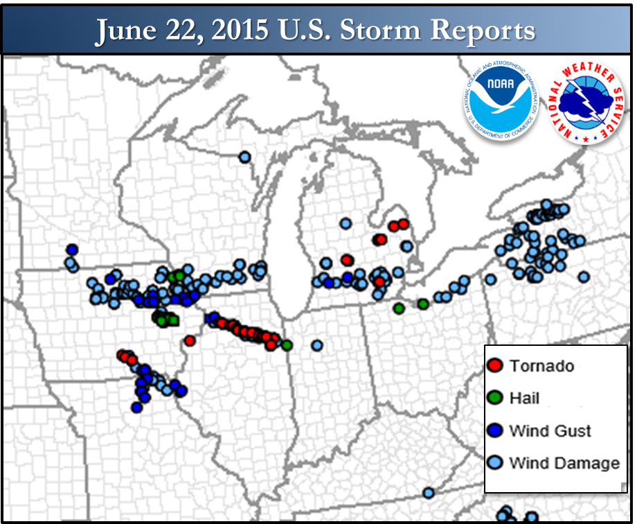 U.S. Storm Reports for June 22, 2015