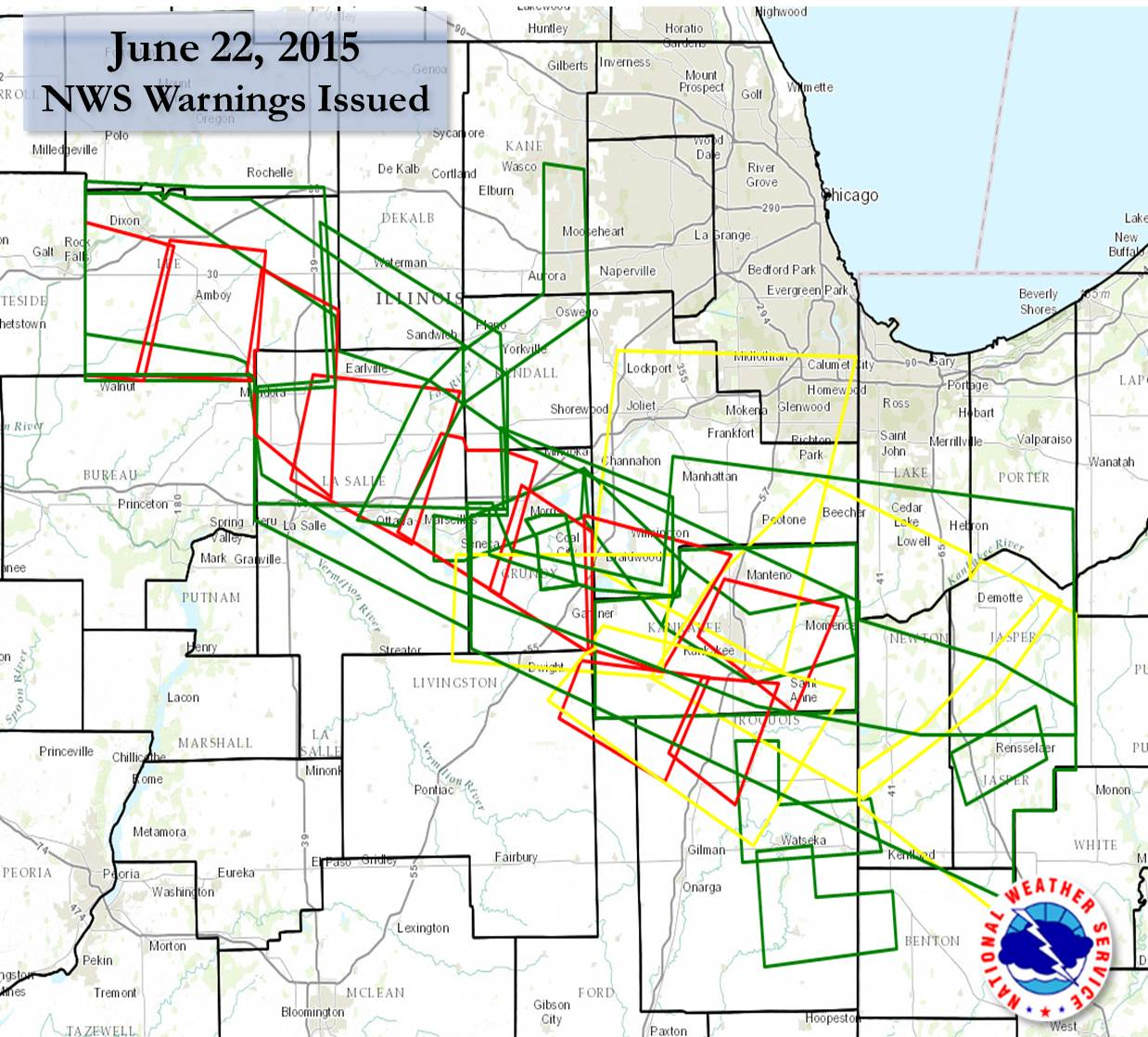 Summary of Warnings Issued from NWS Chicago on June 22nd 2015