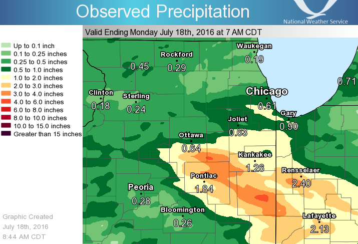 Observed 24 Hour Precipitation Ending at 7 am July 18, 2016