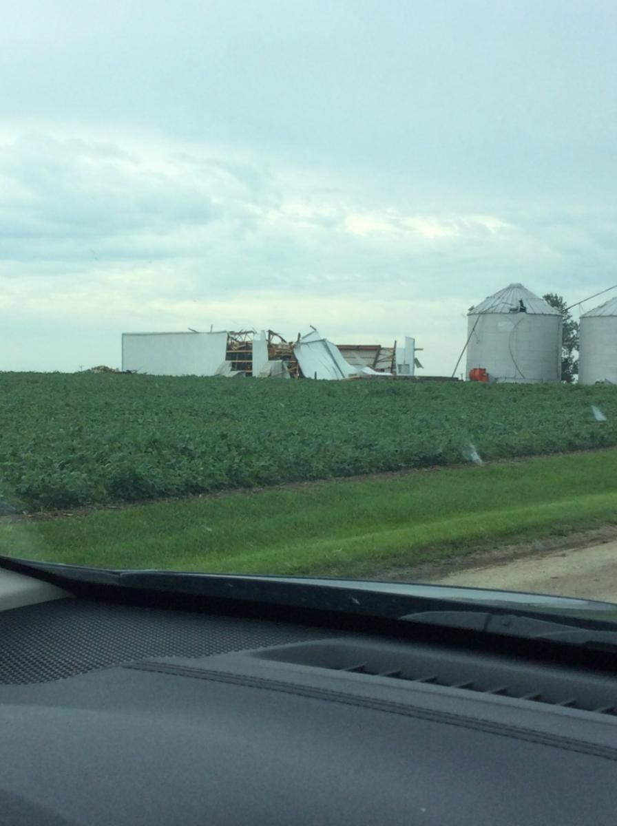 Barn collapsed 5 miles SW of Herscher
