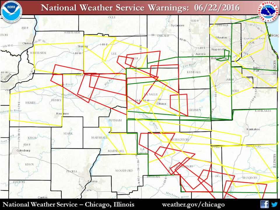 Map of warnings issued on June 22, 2016