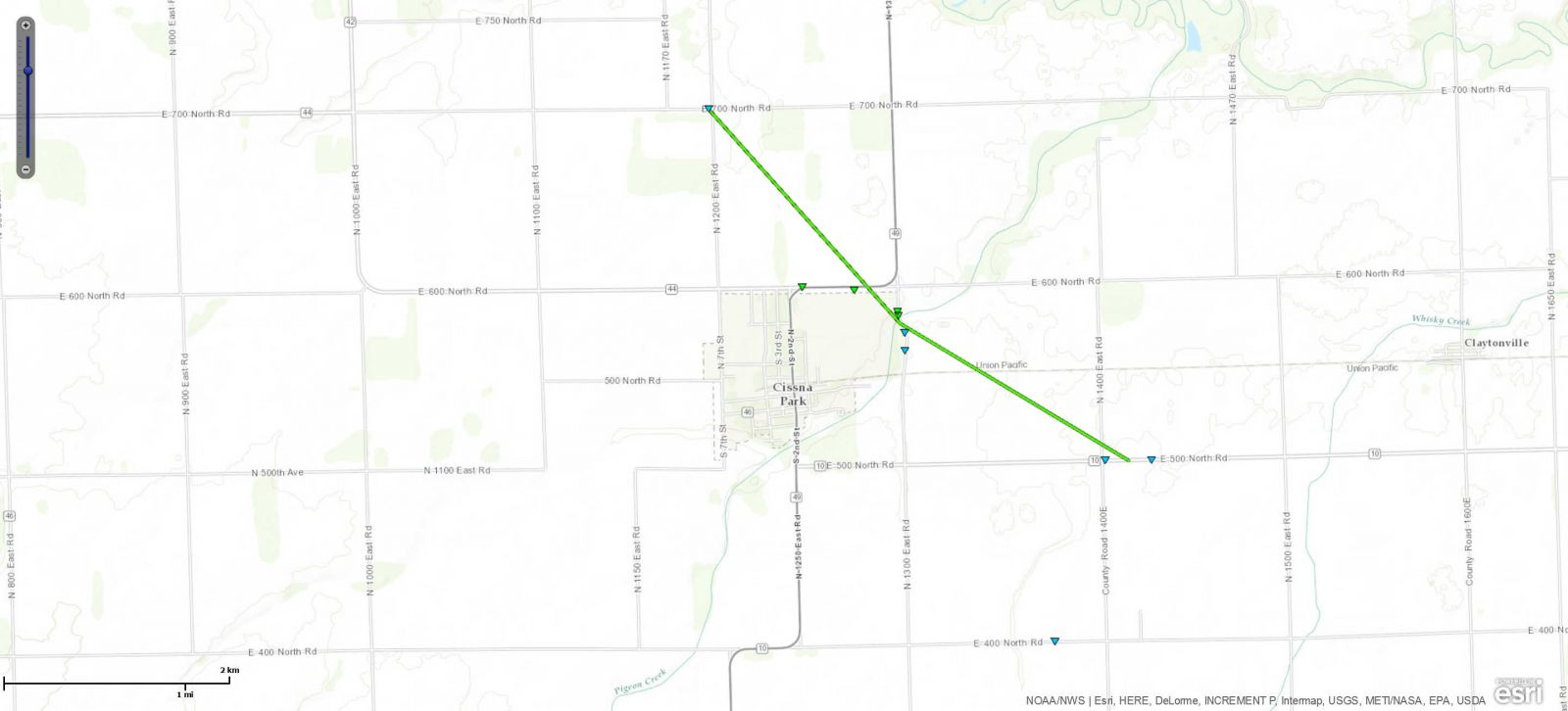Track Map of Cissna Park, IL tornado
