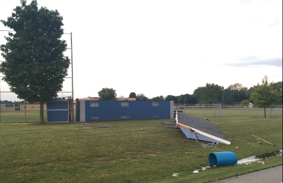 Roof torn off the high school baseball dugout in Cissna Park