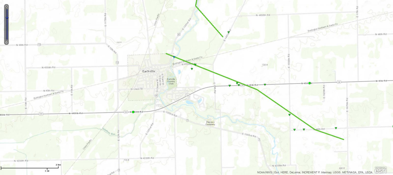 Track Map of Earlville, IL tornado