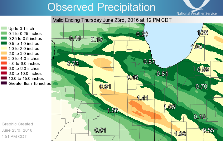 24 Hour Rainfall ending at 7 am June 23rd