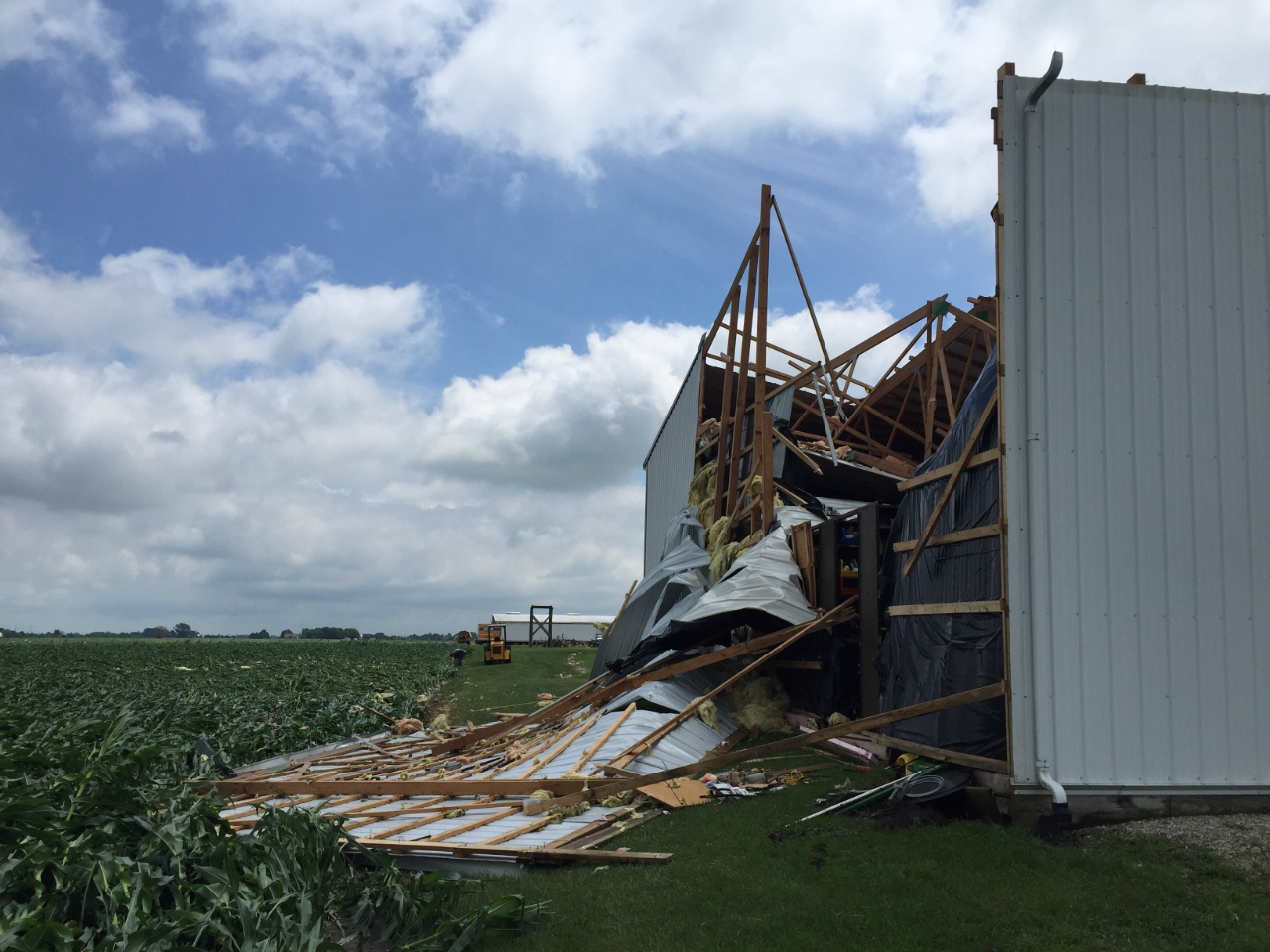 Barn wall collapsed