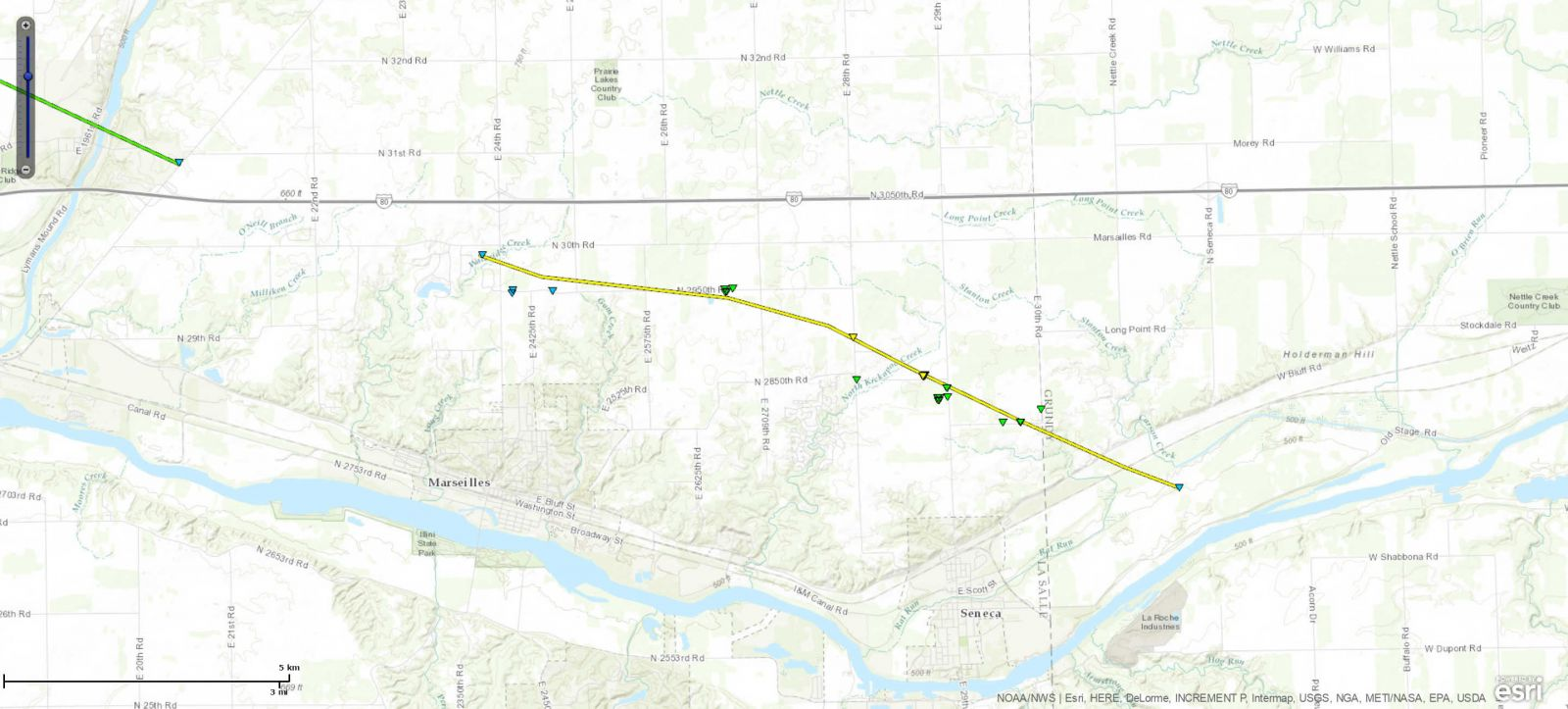 Track Map of Seneca, IL tornado