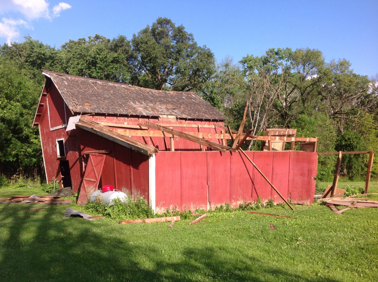 Barn destroyed