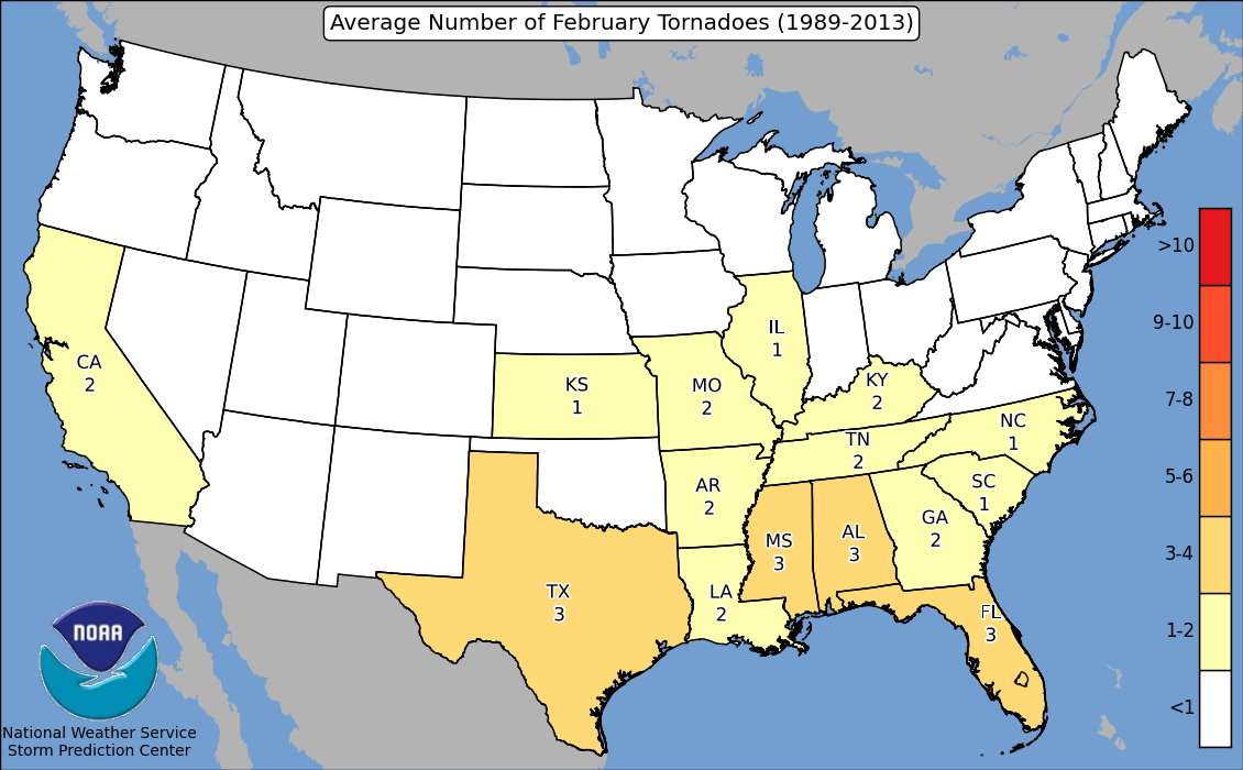 Tornadoes by State in February