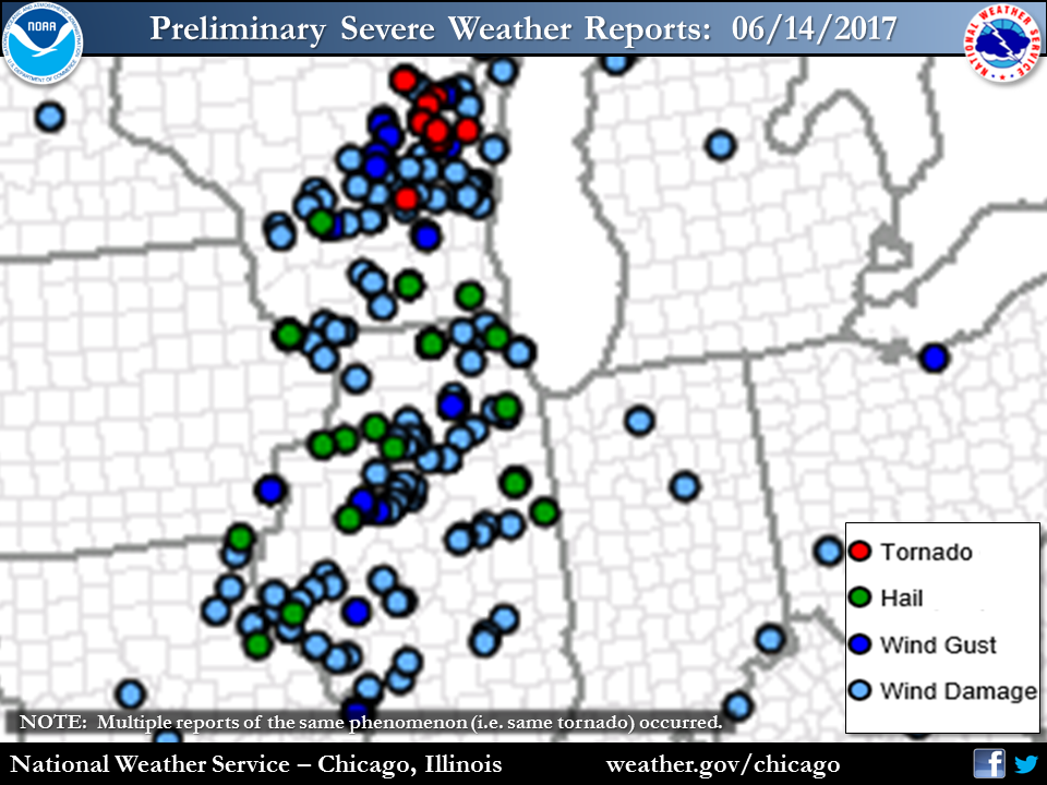 Preliminary Storm Reports for June 14th 2017