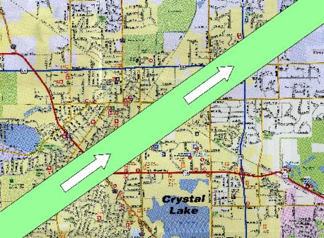 Tornado path through Crystal Lake, IL. Courtesy: Crystal Lake Historical Society.