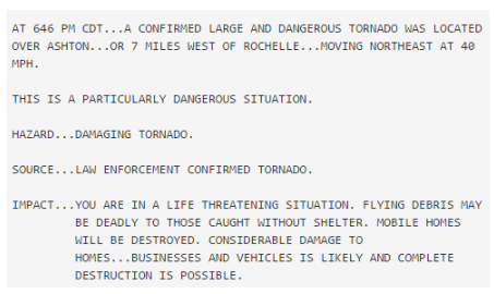 Text of Rochelle warning