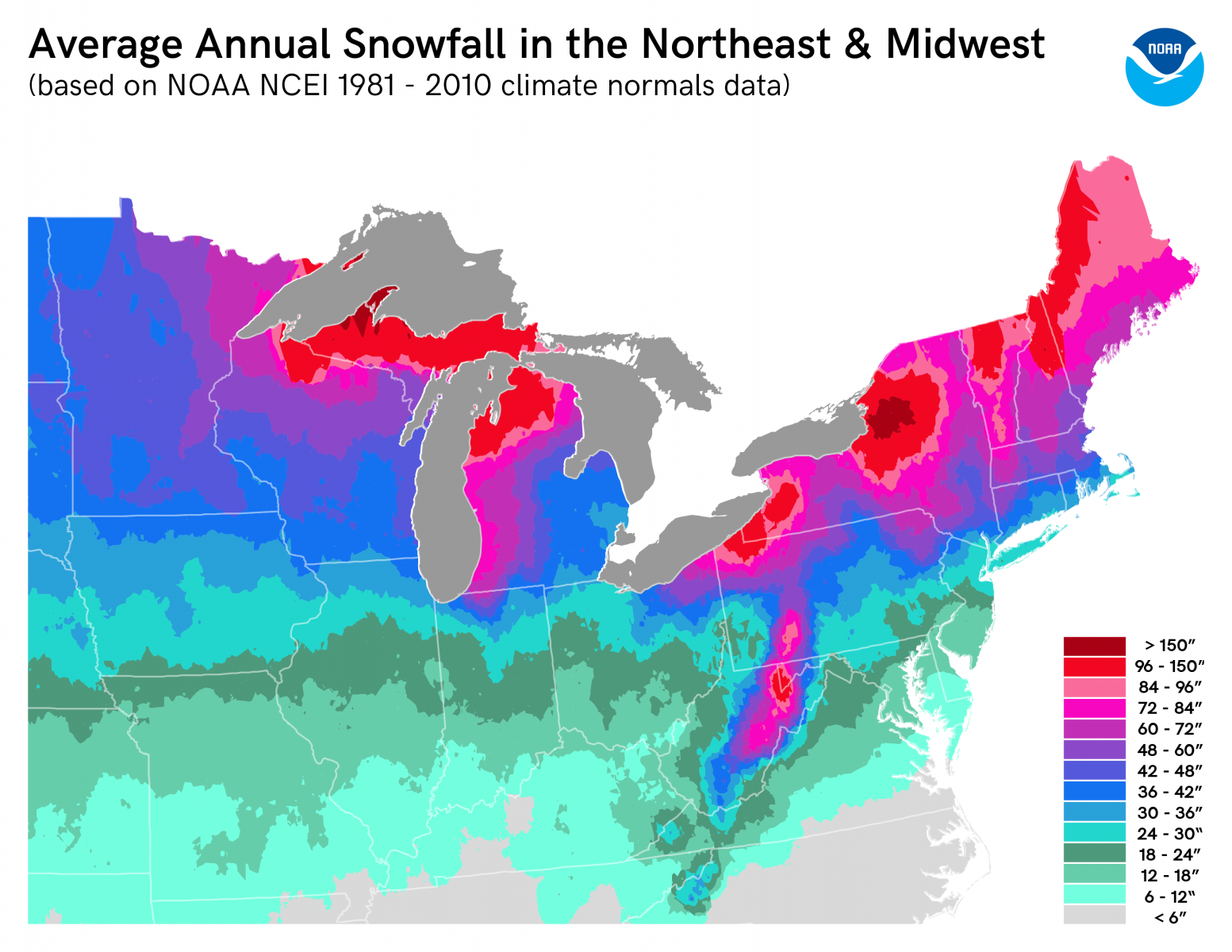 snow map of us Snow Climatology For The Nws Chicago County Warning Area